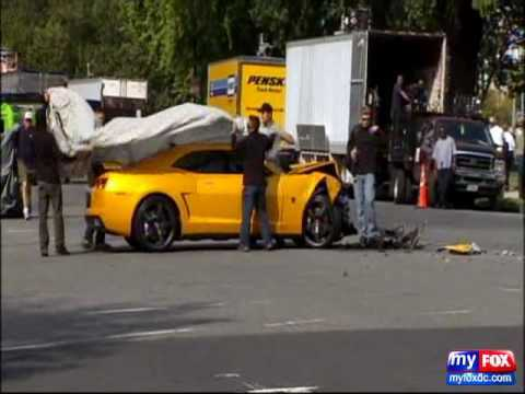Bumblebee Camaro Crash at Transformer 3 Filming in DC