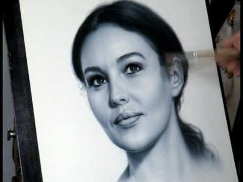 Speed drawing portrait of Monica Bellucci in dry brush art